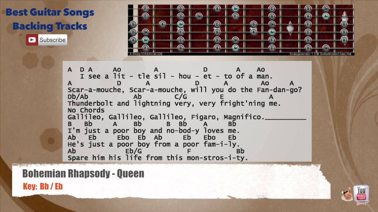 Bohemian Rhapsody - Queen Guitar Backing Track with scale, chords and lyrics