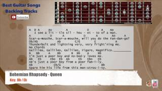 Bohemian Rhapsody - Queen Guitar Backing Track with scale, chords and lyrics Video