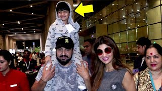 Shilpa Shetty & Raj Kundra Playing With CUTE Son Viaan Spotted At Mumbai Airport