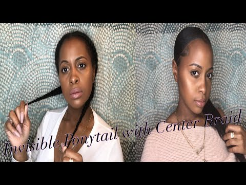 Invisible Ponytail With a Center Braid Using 10 Inch Weave
