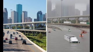 Before and after, images show how Hurricane Harvey swamped Houston