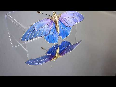 Blue butterfly in Dip It/dip art technique (resin and wire) Elena Orlenko Crystal Flora