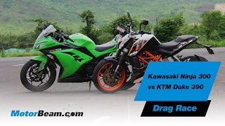kawasaki ninja 300 vs ktm duke 390 drag race motorbeam