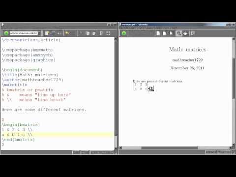 LaTeX Tutorial 06 matrices