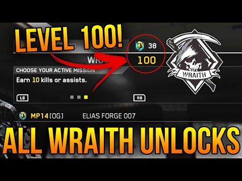 ALL WRAITH UNLOCKS in INFINITE WARFARE! (LEVEL 100 WRAITH MISSION TEAM REWARDS)