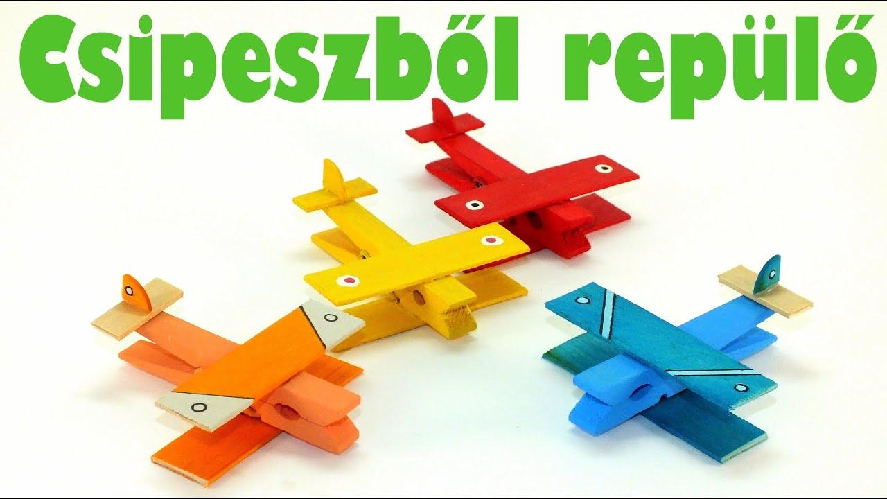 Csipeszből repülő - Kreatív ötletek gyerekeknek - YouTube