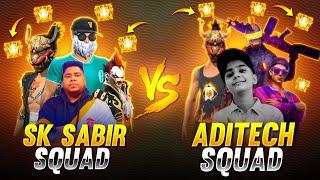 SK SABIR BOSS SQUAD VS ADITECH SQUAD ll SSG ARMY VS AT ARMY INSANE MATCH l GARENA FREE FIRE