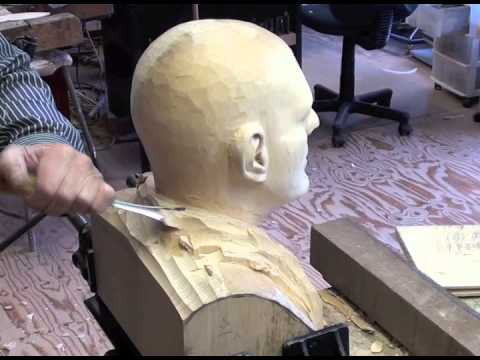 Wood carved  male head Limewood