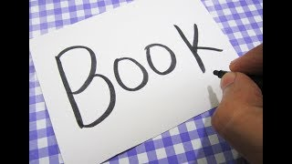 How to turn words BOOK into a Cartoon With Coloring ! Learn drawing art on paper for kids