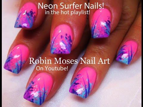 Easy HOT Nails! DIY Neon Pink Surfer Nail Design Tutorial!