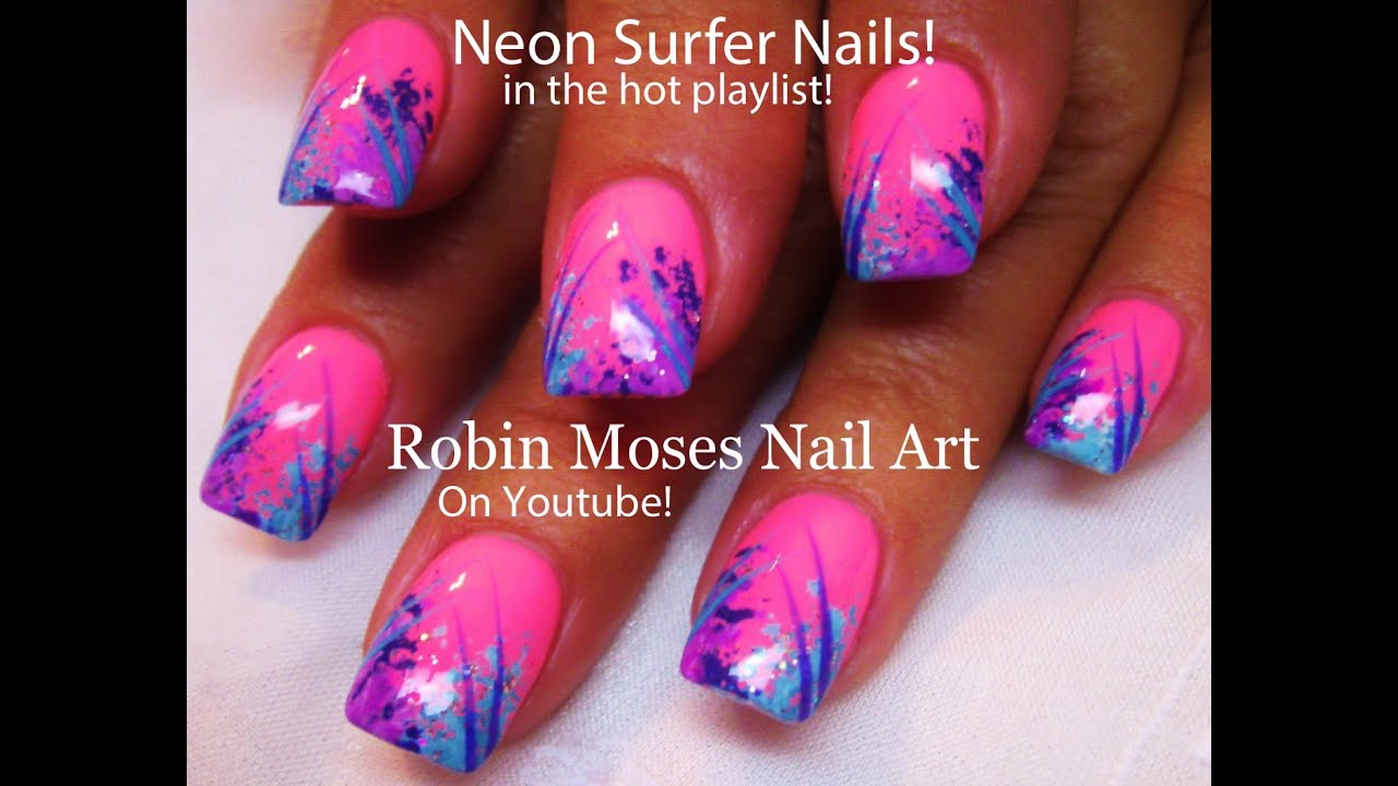 Easy Hot Nails Diy Neon Pink Surfer Nail Design Tutorial Youtube