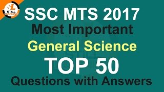SSC MTS 2017 Most Important GK/General Science Top 50 Questions with Answers