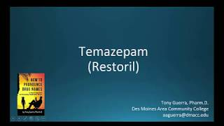 (CC) How to Pronounce temazepam (Restoril) Backbuilding Pharmacology