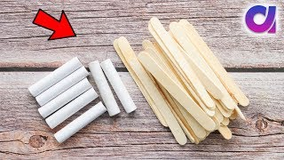 Best use of waste thread spools and Pop sticks crafts idea | Room decor 2019 | Artkala