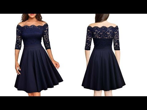 cb1c7759c5 Women s Vintage Floral Lace Half Sleeve Boat Neck Cocktail Formal Swing  Dress