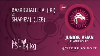 1/2 FS - 84 Kg: A. BAZRIGHALEH (IRI) Df. J. SHAPIEV (UZB), 9-0