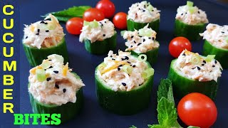 Cucumber Bites Appetizer | Healthy Summer Snacks | Tuna Cucumber Cups