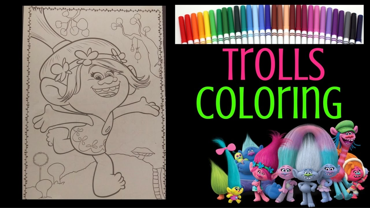 Trolls Coloring Book - Poppy Coloring with Markers - Troll Movie ...