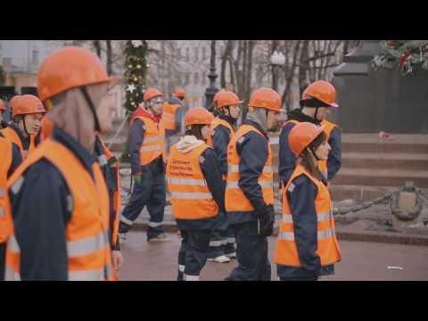 Флешмоб строителей на Пушкинской площади