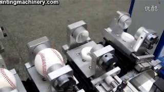 4 color printing machine with tank conveyor for ball baseball with auto 360 degree