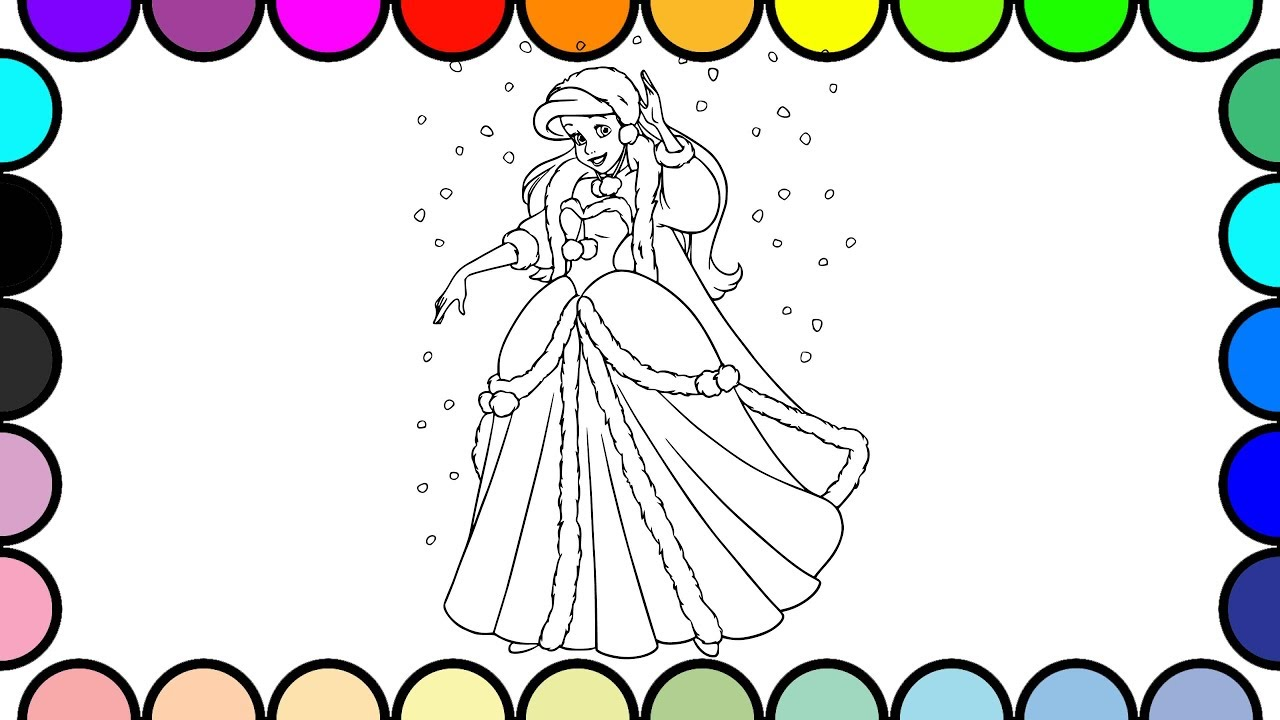 How To Draw And Color Ariel Princess Winter Disney Coloring Pages