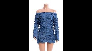 New stylish strapless flare sleeve plus size pleated stretch slim fit dress WholesaleB20298