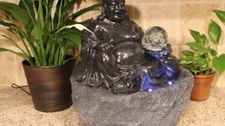 Lucky Buddha Tabletop Water Fountain