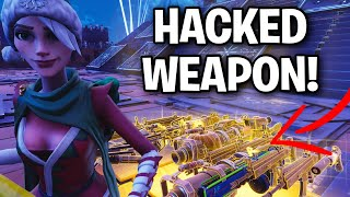 Scammer Has NEW Hacked! Gun! 😱😱 (Scammer Get Scammed) Fortnite Save The World