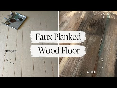 How To Paint Faux Wood Plank Floors with Country Chic Paint | DIY Floor Painting Tutorial