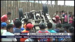 Víctor Larco: Mala maniobra del conductor les costó la vida