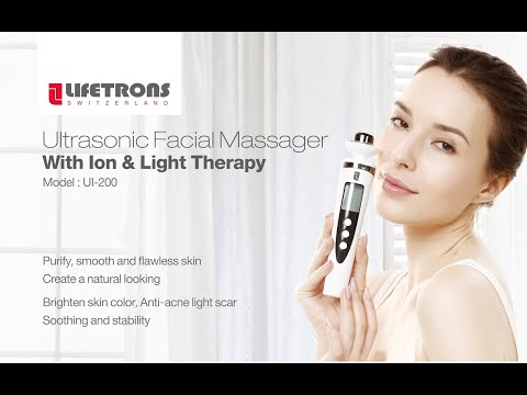 LIFETRONS UI-200 Ultrasonic Facial Massager with ION & Light Therapy