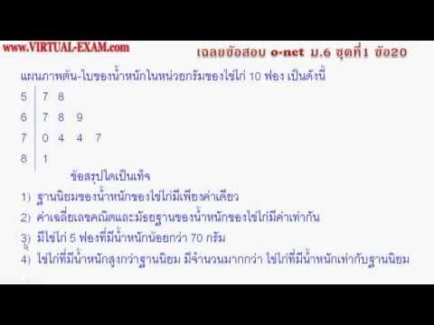 เฉลยข้อสอบคณิตศาสตร์ O-NET ม.6  ชุด 1 ข้อ 20