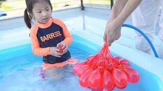 더울때는 물풍선놀이가 너무 재밌어요!! 서은이의 물놀이 물풍선 타요 미끄럼틀 여름 피서 Water Balloon and Tayo Slide