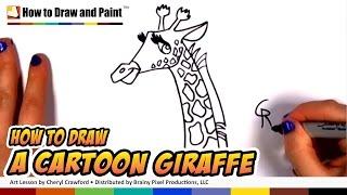 How to Draw a Cartoon Giraffe Step By Step - Art for Kids - How to Draw cartoon Animals CC