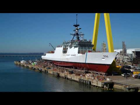 Translation and launch of U.S. Coast Guard National Security Cutter Kimball