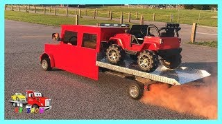 Towing The Mini Rollback On Fire Picking Up The Powered Ride on Jeep Wrangler at the Auction - Stafaband