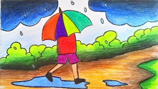 How to draw scenery of rainy season step by step for children