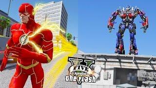 GTA 5 PC - The Flash VS Optimus Prime | Battle With Giant ! (Ultimate Flash Mod)🏃🏽⚡️