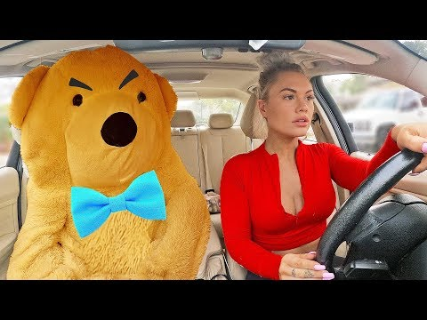TEDDY BEAR COMES TO LIFE IN CAR PRANK ON GIRLFRIEND.. (cute reaction)