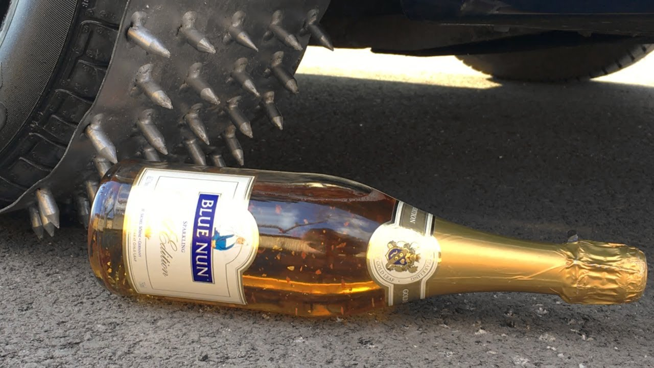 Crushing Crunchy & Soft Things by Car - 1000 NAILS CAR TIRE vs 24K GOLD SPARKLING CHAMPAGNE