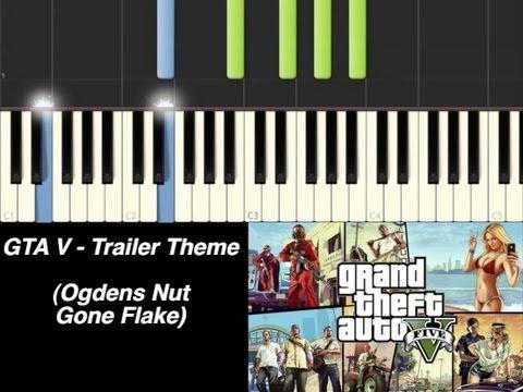 Piano Tutorial - Grand Theft Auto V - Trailer Theme (Ogdens Nut Gone Flake) [Synthesia]