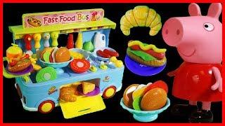 粉紅豬小妹peppa pig用移動快餐車玩具做漢堡熱狗