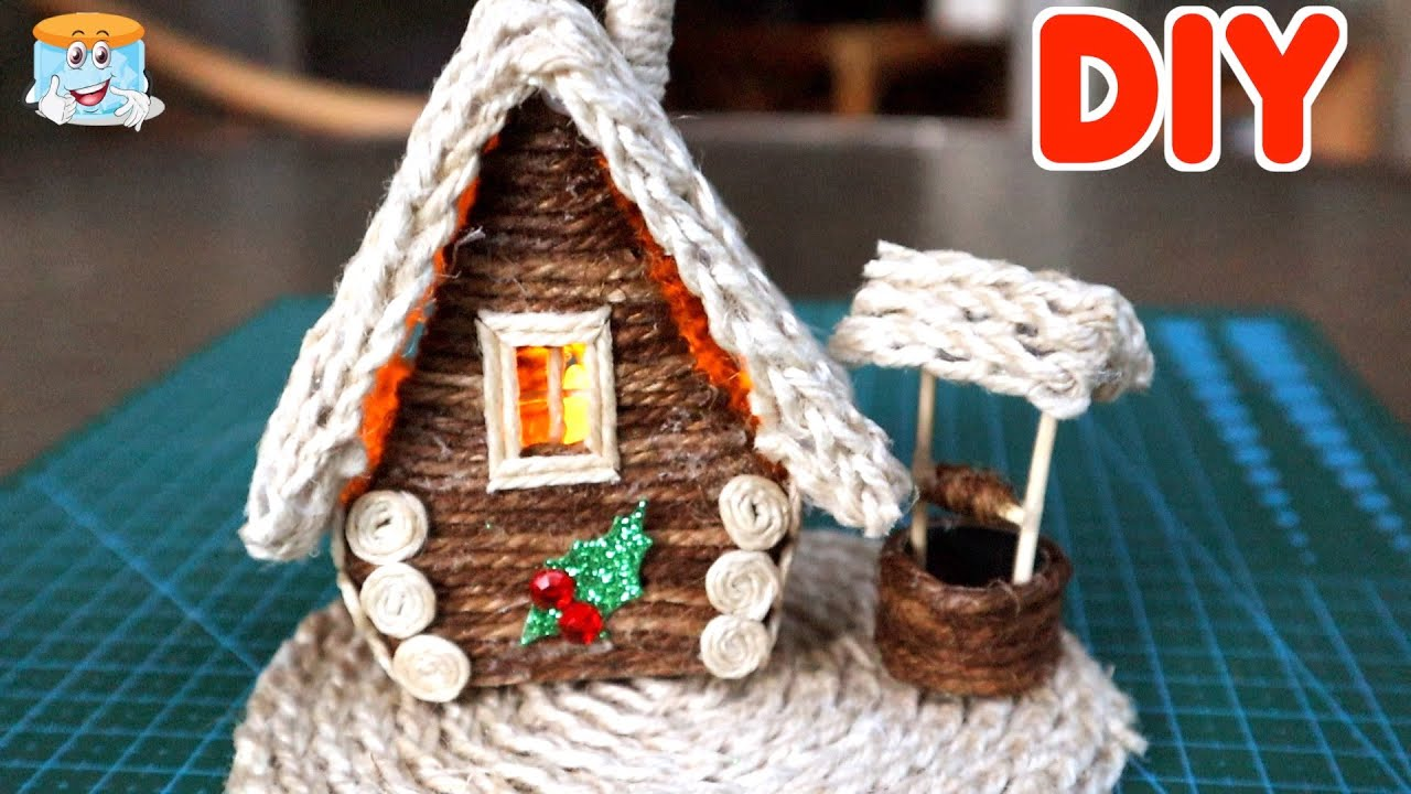 Рождественский домик ИЗ ДЖУТА своими руками. Новогодние поделки и подарки