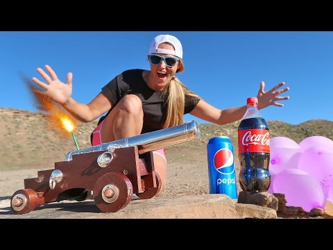 Thumbnail: Mini Cannon vs Giant Balloon Super Wubble Coca Cola & Pepsi Battle!! Carl & Jinger