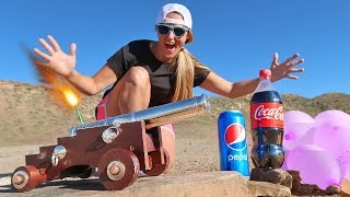 Mini Cannon vs Giant Balloon Super Wubble Coca Cola & Pepsi Battle!! Carl & Jinger