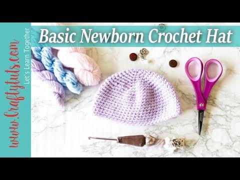 Basic Newborn To 3 Month Crochet Baby Hat Link To Written Pattern