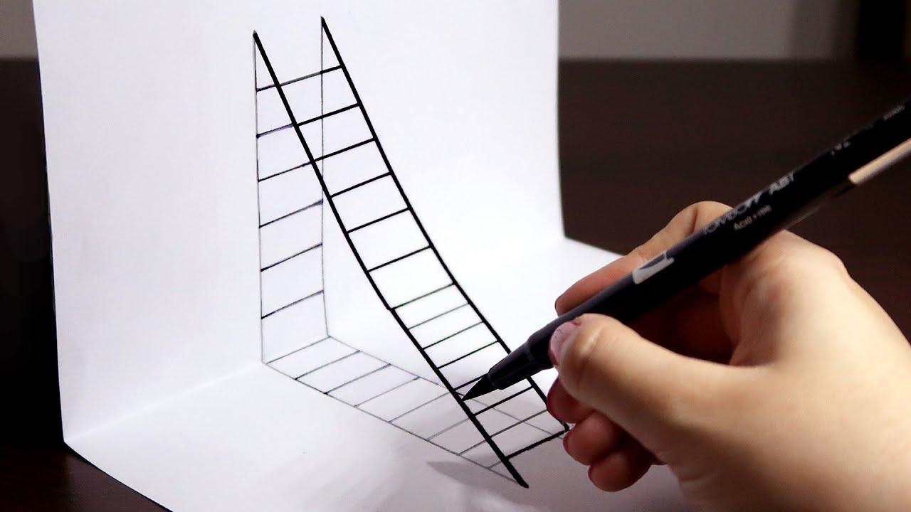 Como Desenhar Uma Escada 3d Passo A Passo Youtube