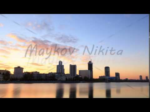 Sunset on the waterfront. Ekaterinburg, Russia. Time Lapse