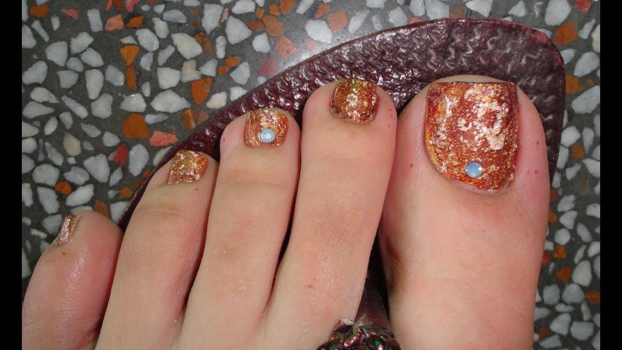 easy fall toe nail art tutorial