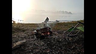 Рыбалка с ночевкой на армейском сухпайке. Наловили 10 кг рыбы. Куры будут довольны